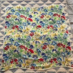 Vintage Echo Silk Square Scarf Colorful Vacation